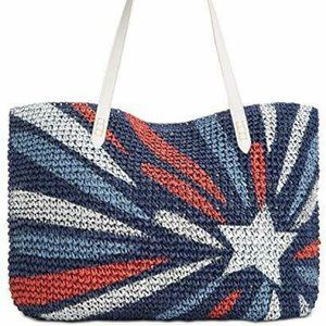INC Tropical Star Large Straw Tote Blue